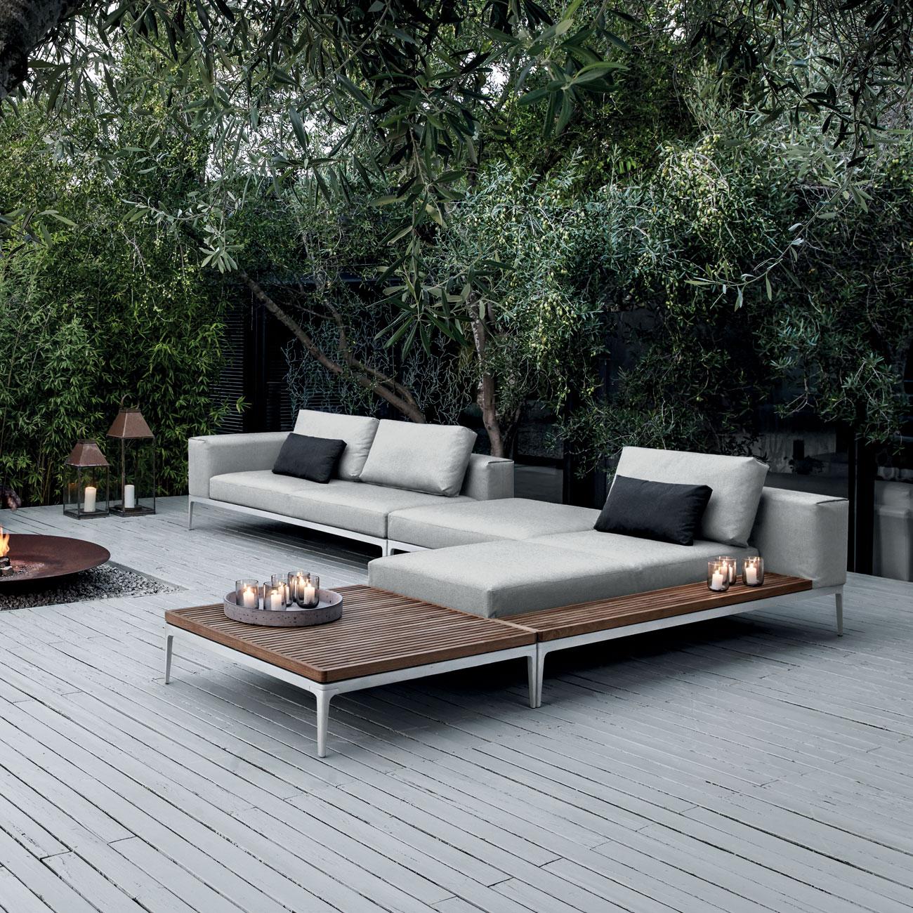 Gloster Grid Modular Sofa Ottoman Luxury Outdoor Living