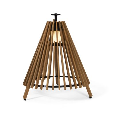 tipi teak and steel lamp