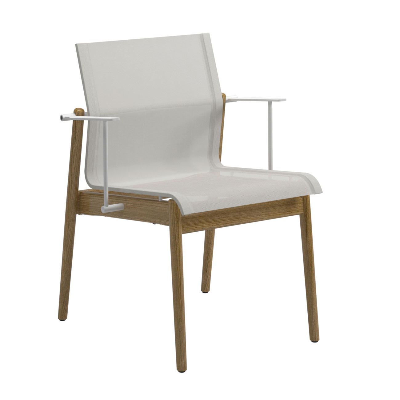 Gloster Sway Teak Stacking Chair With Arms White Frame