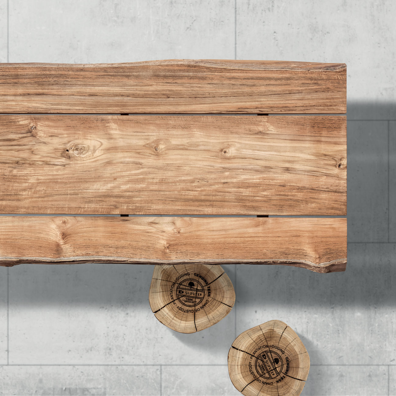 Gloster raw teak top dining table luxury outdoor living