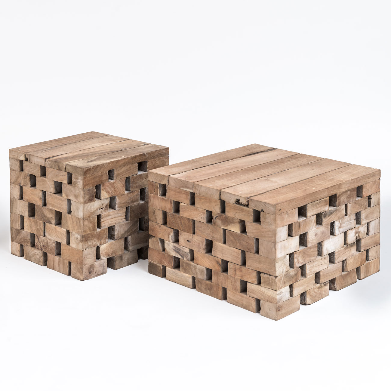 Grey Teak Coffee Table: Gommaire Puzzle Grey Teak Coffee Table