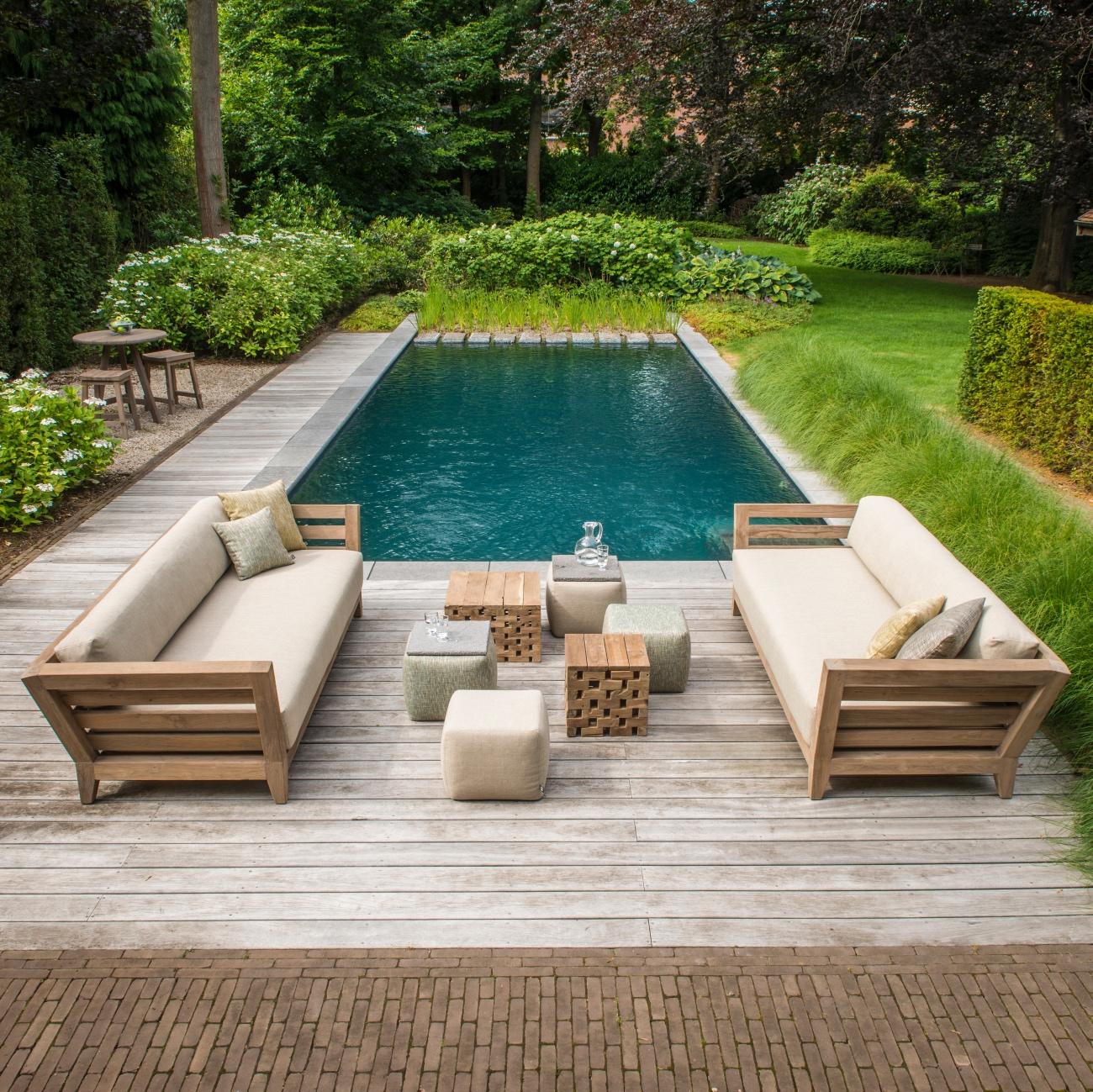 Gommaire mia 3 seater teak sofa luxury outdoor living for Luxury outdoor living