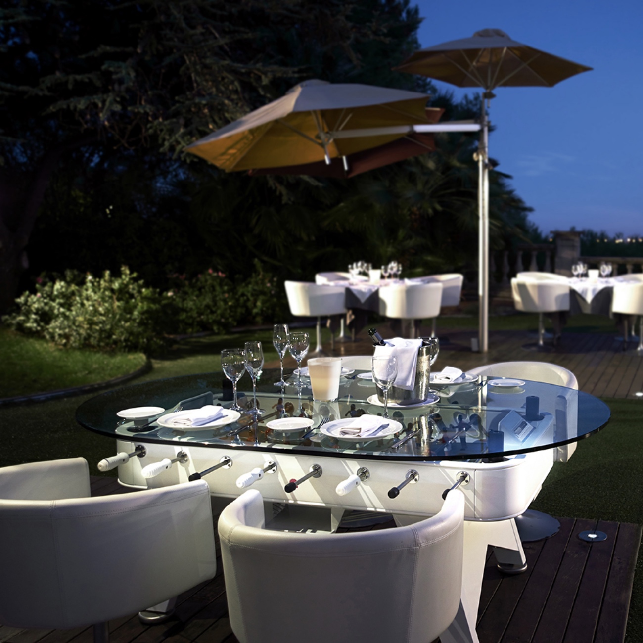 Outdoor dining football table luxury outdoor living for Luxury outdoor living