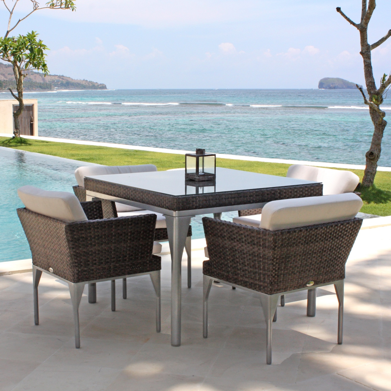 square dining table for 4. Home / All Weather Rattan Dining Tables Skyline Brafta Square Table \u2013 Seats 4 For